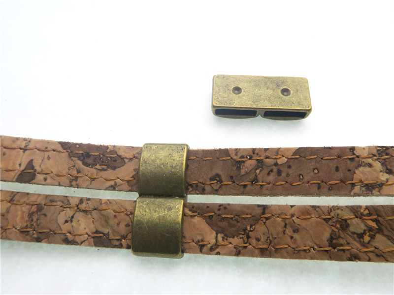 Slider Licorice Leather Double Barrels flat leather bracelet findings separator connectors Antique Brass Jewelry Components