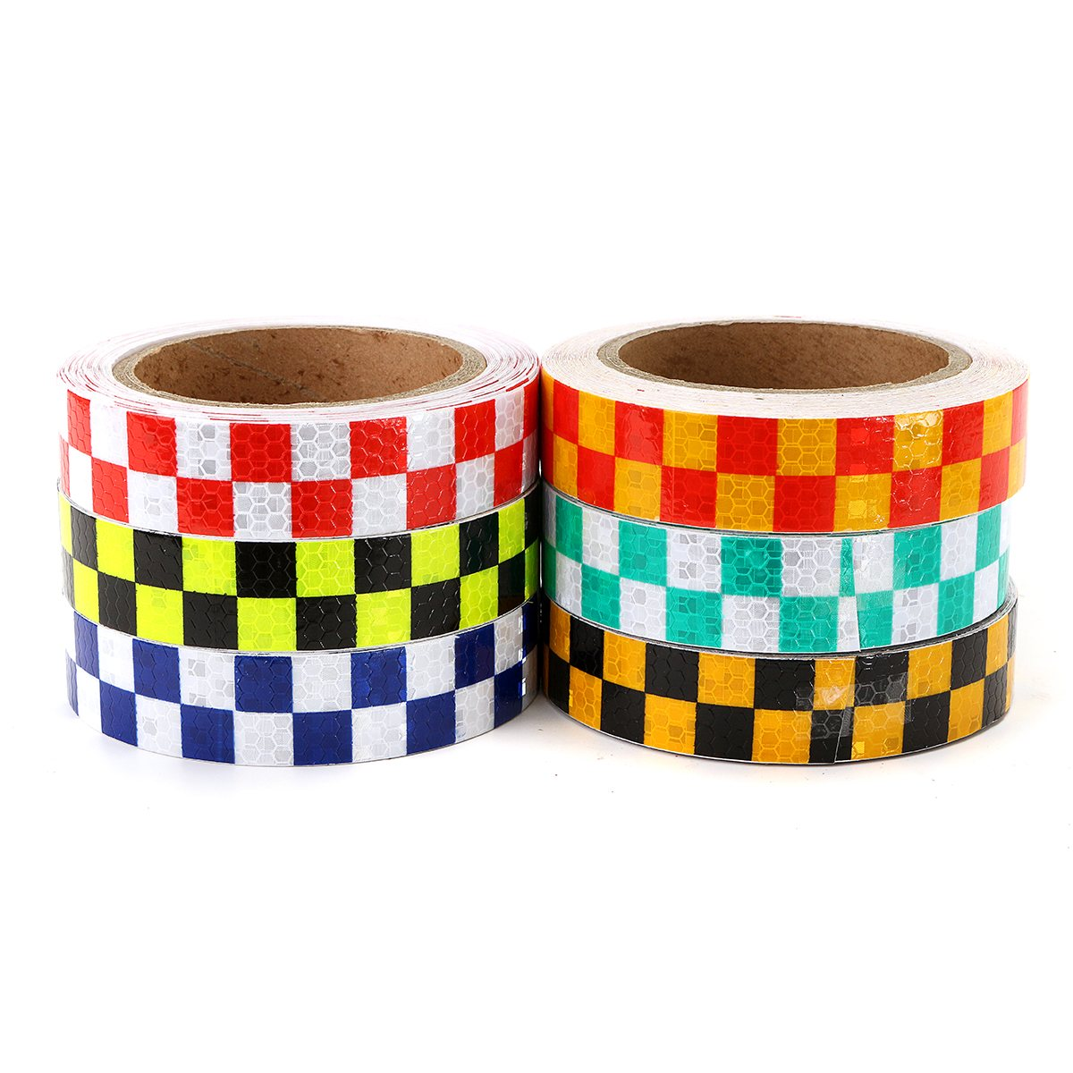 NEW Intensity Reflective Car Sticker Double Color Chequer Roll Signal PVC Workplace Safety Warning Tape цена