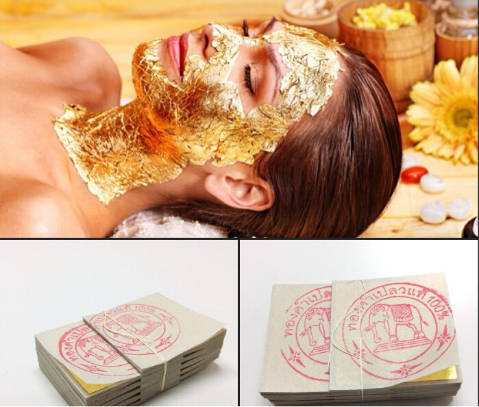 20PCS Gold Foil Mask Sheets Spa 24K Gold Face Mask Sheet Thailand Beauty Salon Equipment Anti-Wrinkle Lift FaceBeauty Care