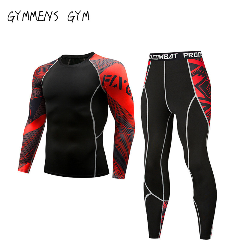 GYMMENS Hot Compression Tracksuit Fitness Tight Sports Set T-shirt Legging Men Sportswear Demix Gym Running Suit
