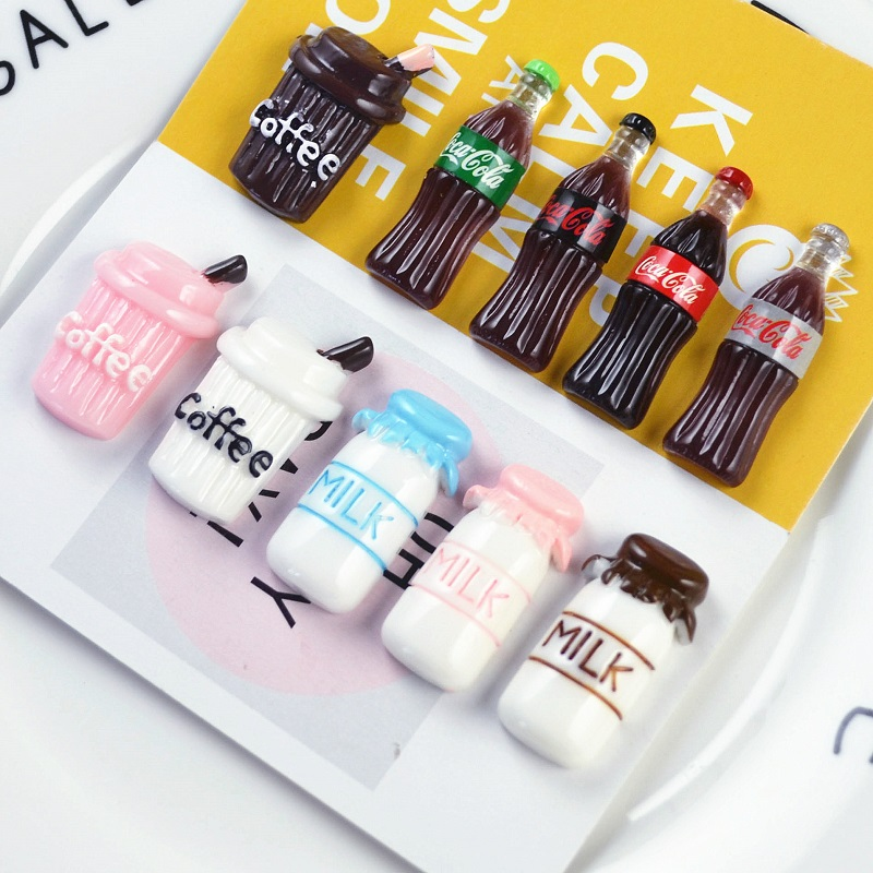 10pcs/set Creative Resin 3D Coffee Cup Milk Bottles Miniatures Models DIY Cola Bottle Small Statue Figurine Crafts Decoration