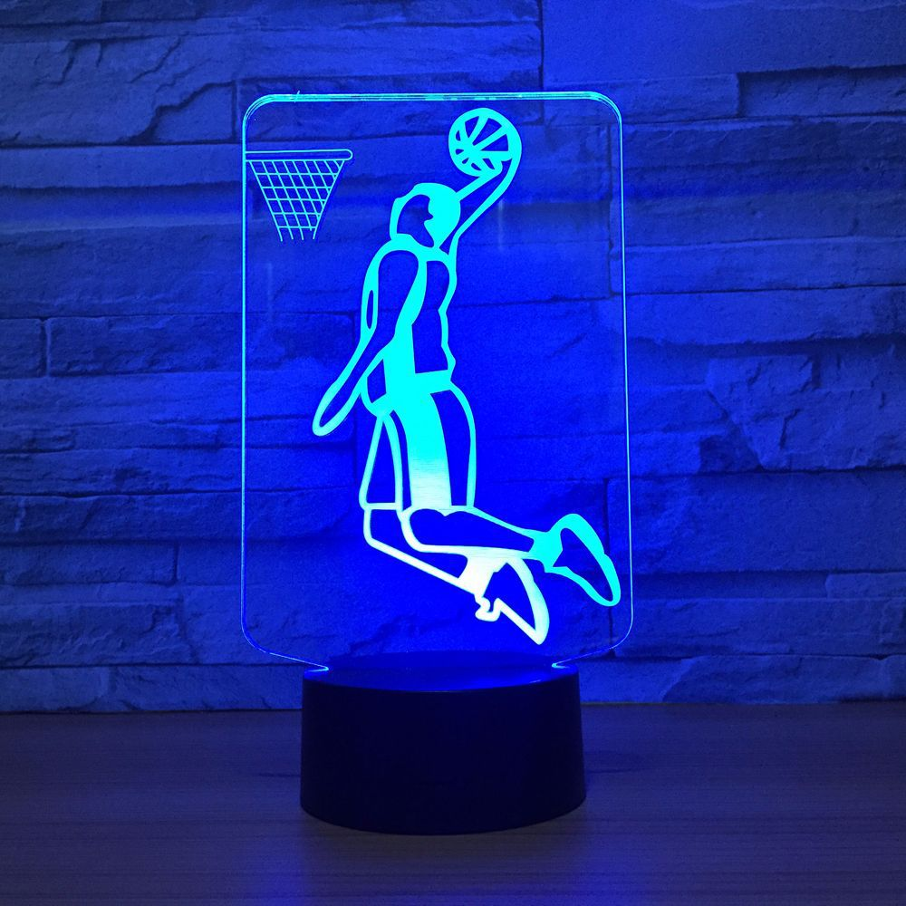 Slam Dunk Play Basketball 3D LED Lamp Lighting 7 Color Change Sport 3D Night Light Home Room Decoration Best Friends Child Gift