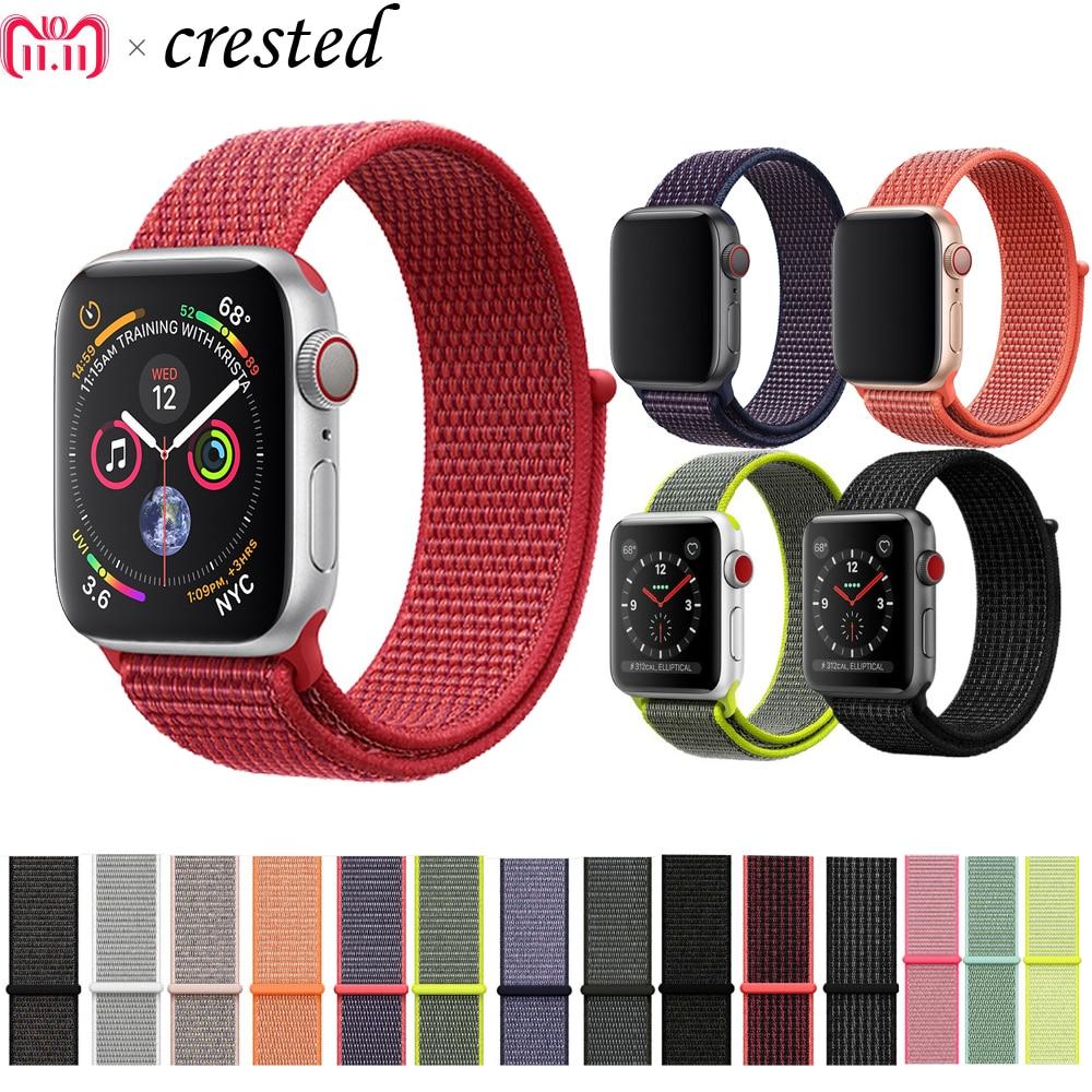 CRESTED de deporte de nylon bucle de correa para Apple Watch banda 42mm/38mm 44mm/40mm iWatch 4/3/2/1 pulsera de muñeca correa de accesorios