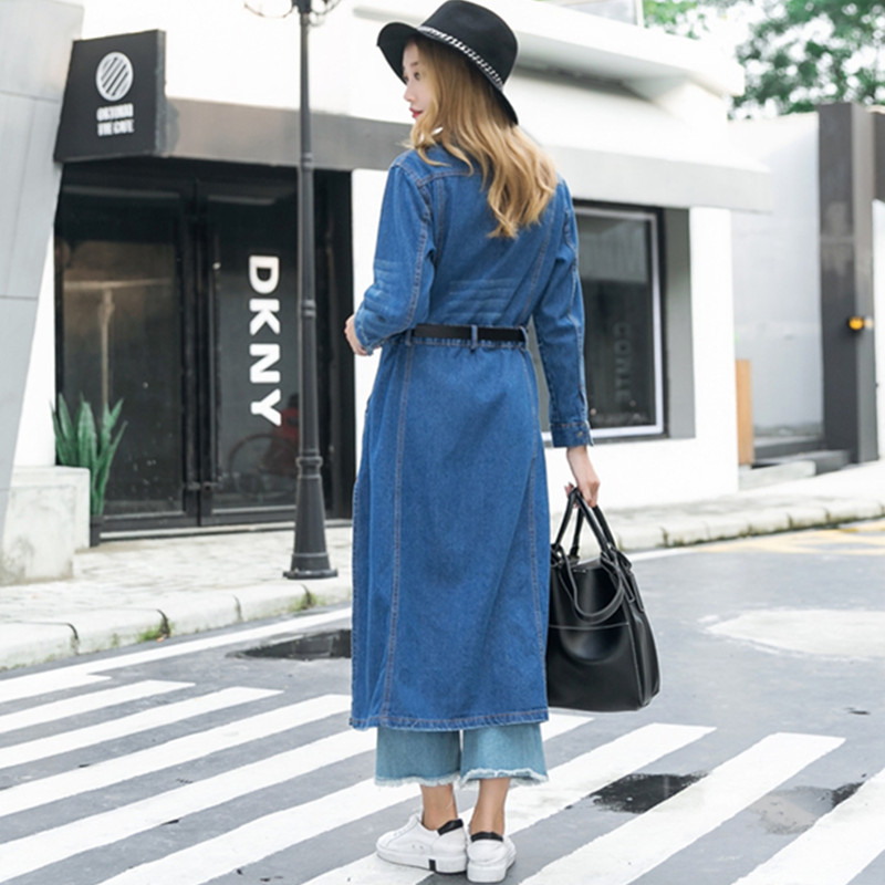 High Slit Long Denim Trench Coat Women Spring Autumn Casual Long Sleeve Single Breasted Jeans Tunics Waterfall Coat Outerwear