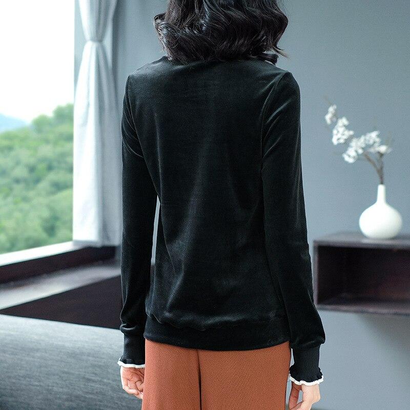 L'europe Fleur Sous Roulé T shirt Taille Femmes Printemps Hauts Col Femme Grande Haute Nouveau Chemises Noir Couture Broderie Lâche Velours Automne vym8n0OPNw