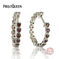 FirstQueen Romantic 925 Sterling Silver Fashion Earrings With Crystal Earrings For Women Fine Jewelry