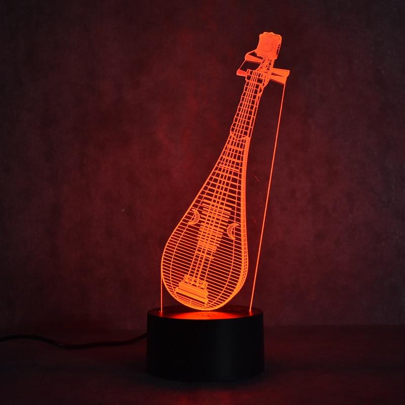 Creative 3D Led Visual Colorful Light Fixture USB սեղանի լամպ Նորույթ Չինական լուտի ձևը Pipa լամպ Մանկական քուն գիշերային թեթև նվեր