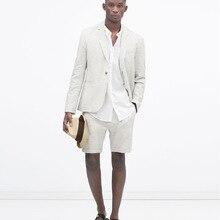 De lino marfil traje de los hombres casuales de playa de verano trajes de  boda para hombres de los hombres de fiesta hombre Chaq. 59a5589c4d0