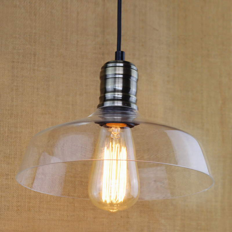Hanging Clear Glass Shade Pendant Lamp With Edison Light
