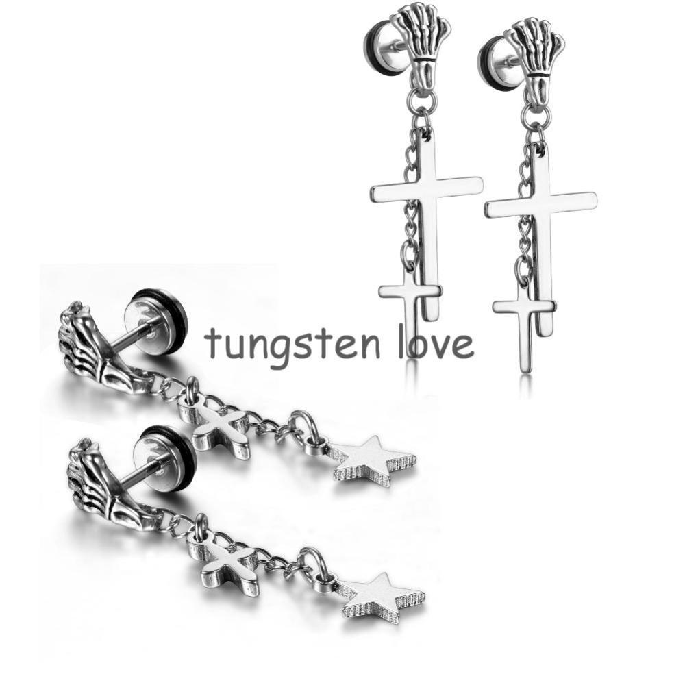 Earrings For New Arrival Stainless Steel Vintage Gothic Skull Claw Cross  Dangle Earrings For Men Women