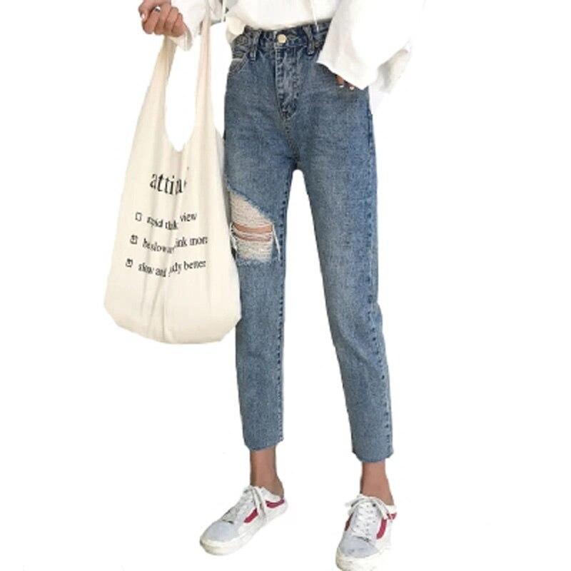 Coupe mince déchiré femmes crayon Denim jean lavé taille haute Calca Feminina coréen Ulzzang Punk Jeansy Roupa Feminina pantalon calca