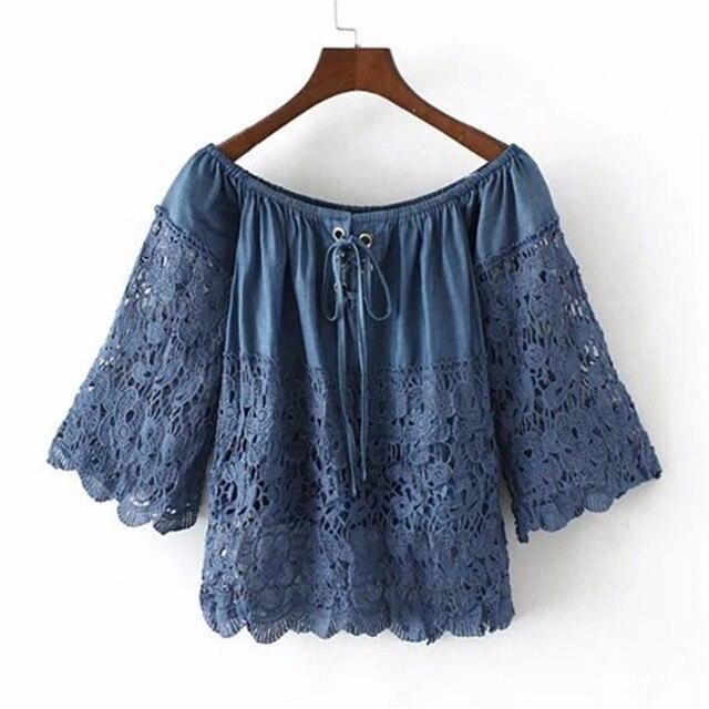 New Arrivals Women Blouse Shirt Solid Blusas Lace Blouse Camisas Femininas Loose Blusa Soft Blouse Denim Shirt Women Blouses#Z3