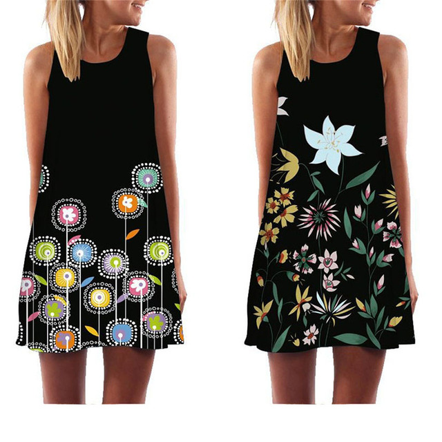 MEIBONA Women Summer Dress Digital Print Loose Casual Mini Dress Above Knee Lady Beach Wear Sundress Vestidos De Verano 2019