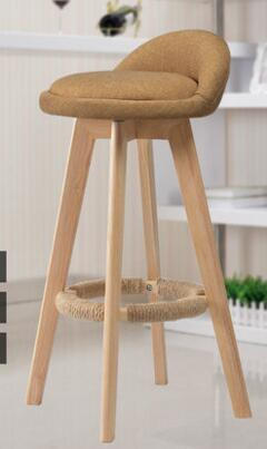 Solid wood bar chair. Creative high chair european-style bar chair. The foot stool0 real wood bar chair european bar chair iron art chair rotate the front chair