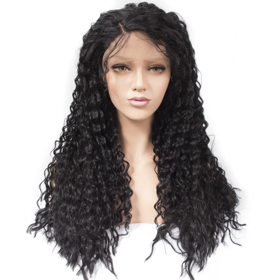 Qp hair Long Afro loose wave Front Synthetic Hair Wigs For Women Pre Plucked Hair Bleached Knots Kanekalon hair