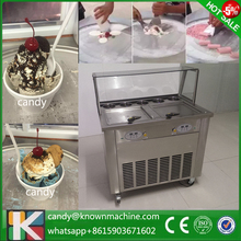 Big square fried ice cream machine with glass cover with R410a with 5 toppings door to door by DHL