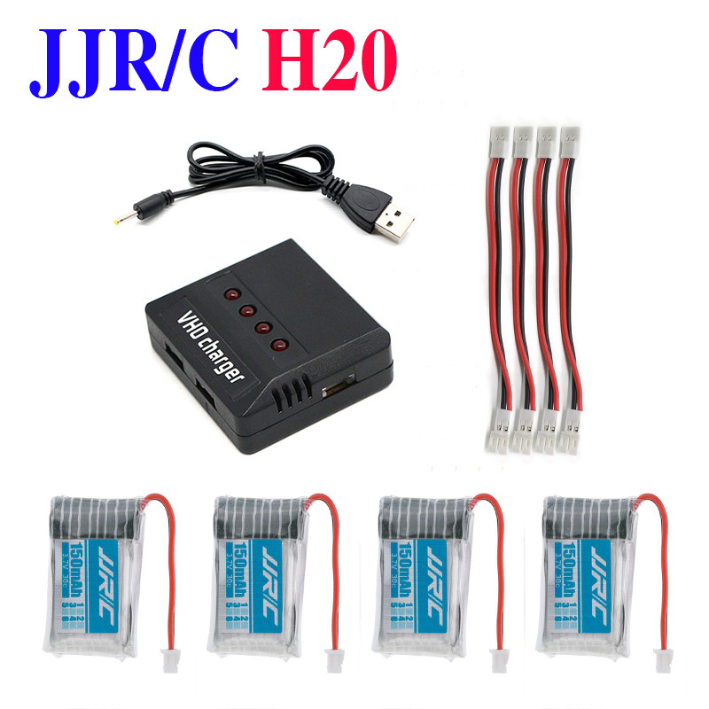 4pcs 3.7V JJRC H20 150mAh 3.7V 30C Lipo Battery and 4in1 Battery charger box for JJRC H20 RC Quadcopter Drone
