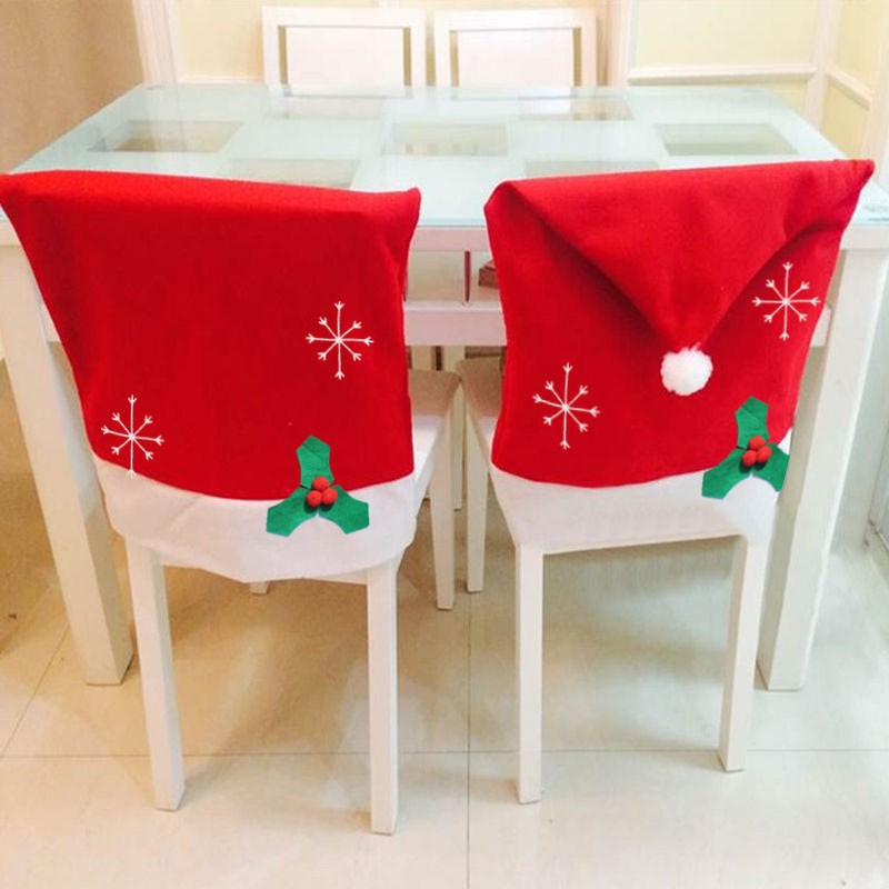 christmas chair covers ebay just in time tables chairs dress cover hot snowflake set santa claus hat dinner table party 5zhh163