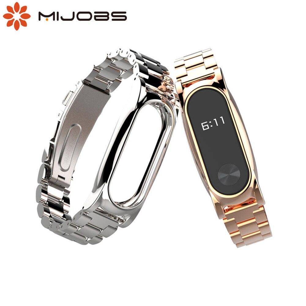 Bracelet Original en métal mi jobs pour Bracelet Xiao mi Band 2 en acier inoxydable sans vis bracelets remplacent les accessoires pour mi Band 2