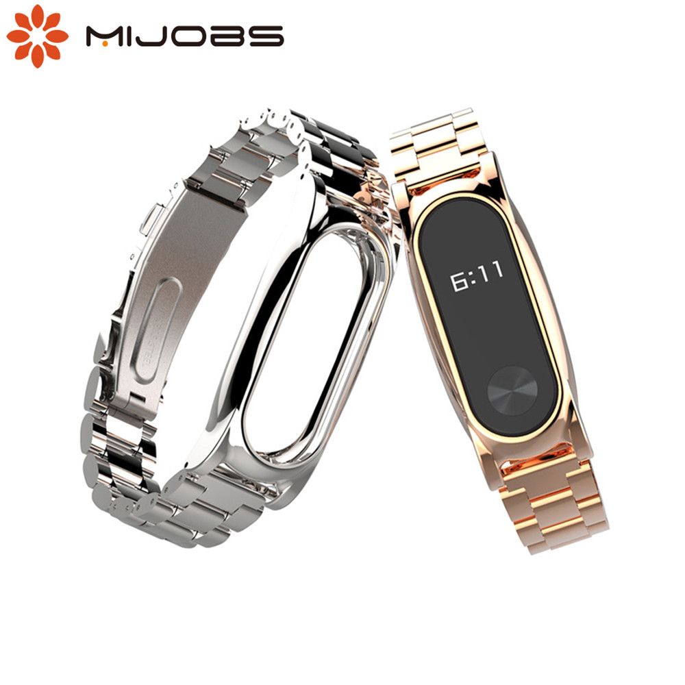 цена на Original mijobs Metal Strap For Xiaomi Mi Band 2 Screwless Stainless Steel Bracelet Wristbands Replace Accessories For Mi Band 2