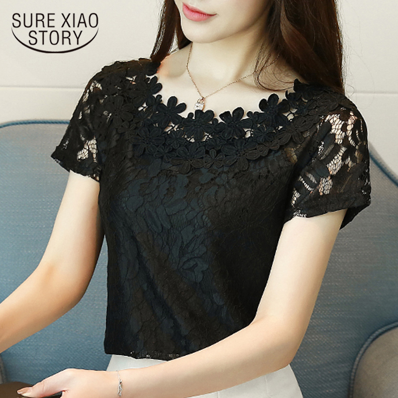 New 2019 Summer Women Shirt Blouse Short Sleeve Lace Fashion Hollow Lace Clothing Sweet White Black Women Tops Blusas D698 30