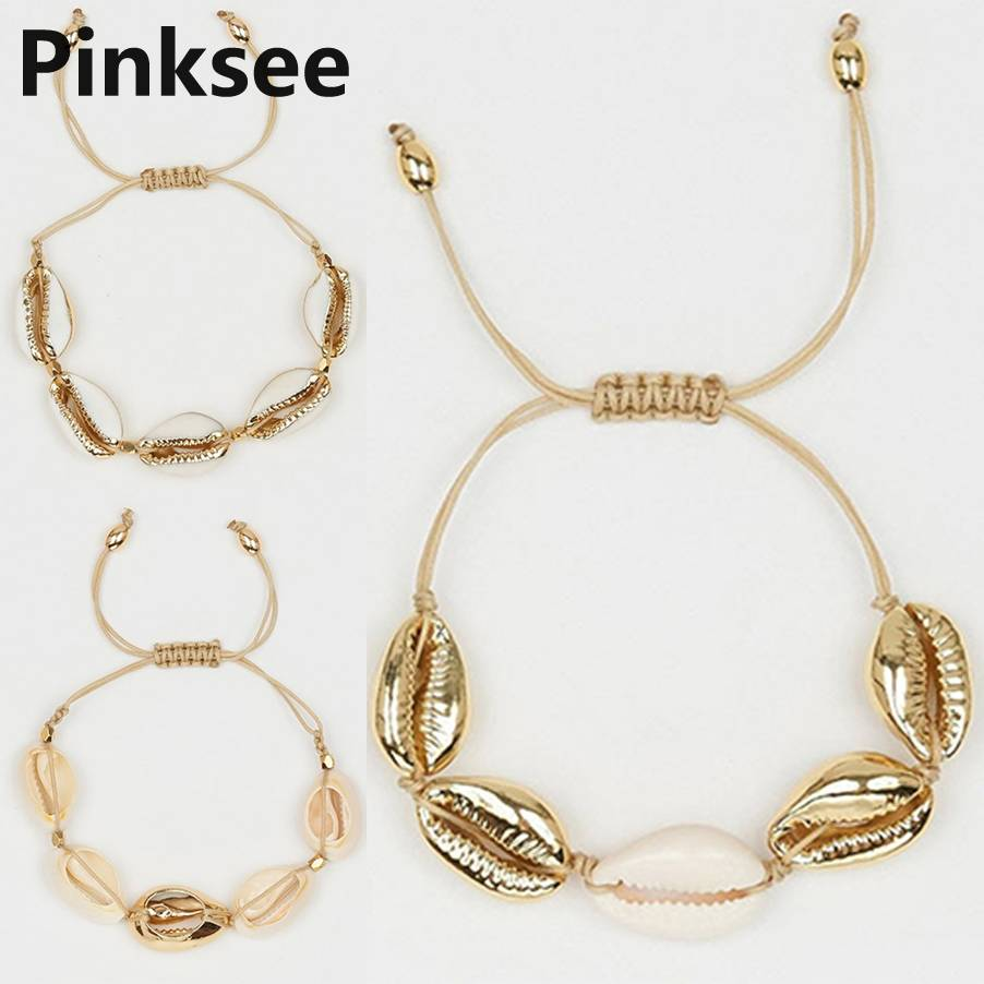 Boho Hawaiian Shells Bracelets For Women Accessories Handmade Rope Friendship Strand Bracelet Hand Woven Beach Jewelry in Charm Bracelets from Jewelry Accessories