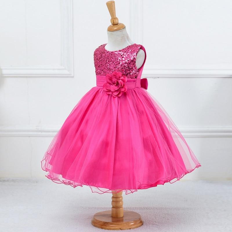 Baby Children Girls Dress Sequined Flower Waistband Party Performance Long Dress 3-10Y S01  цены