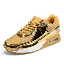Gold Air Cushion Sneakers Women Shoes Running Spring New Lace Up Womens Woman Trainers Zapatos De Mujer