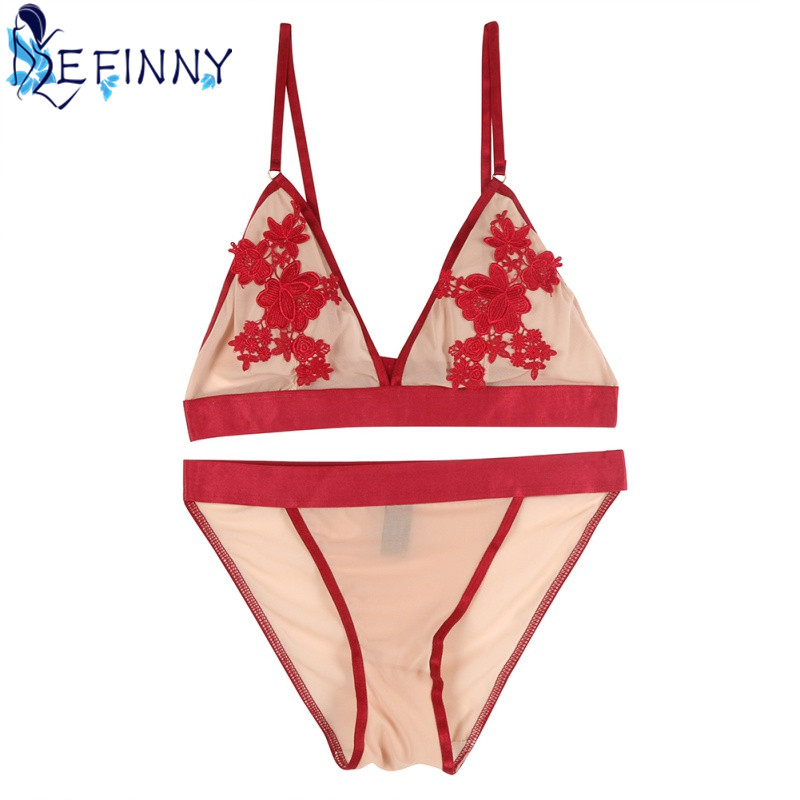 2018 Newest Women Embroidery Floral Transparent Lace   Bra     Set   Wire Free Ultra-thin Sexy Lingerie Girls Charming Rose   Briefs     Sets