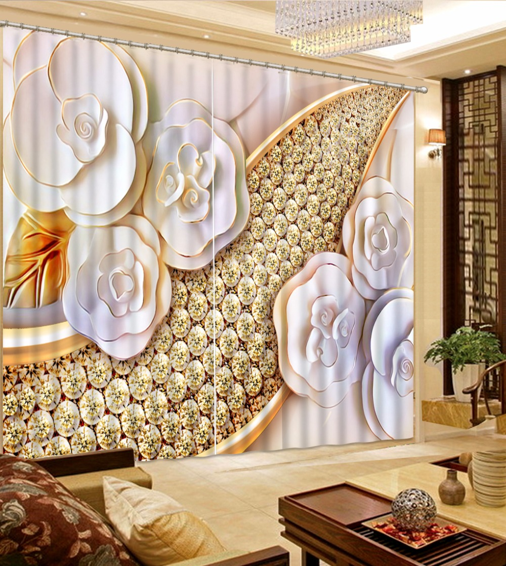 3D Curtain Fashion Customized Embossed Flowers Curtains For Bedroom New Custom 3D Beautiful Blackout Shade Window