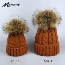 Зимние вязаные шапки Skullies, Лыжные шапки, теплая шапка для мальчиков и девочек, детей, взрослых женщин, брендовая шапка с помпоном из натурального меха енота