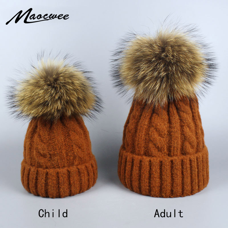 2018 Winter Knitted   Beanies     Skullies   Ski Hats Warm Cap Boys Girls Children Adult Woman Brand Real Raccoon Fur Pom Pom Hat