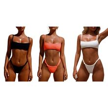 Women Sexy Two Piece Bikini Set Ribbed Vertical Stripes Solid Color Swimsuit Square Neck Push Up Crop Top Low Waist Knotted Wais white hook clasp square neck basic bikini set