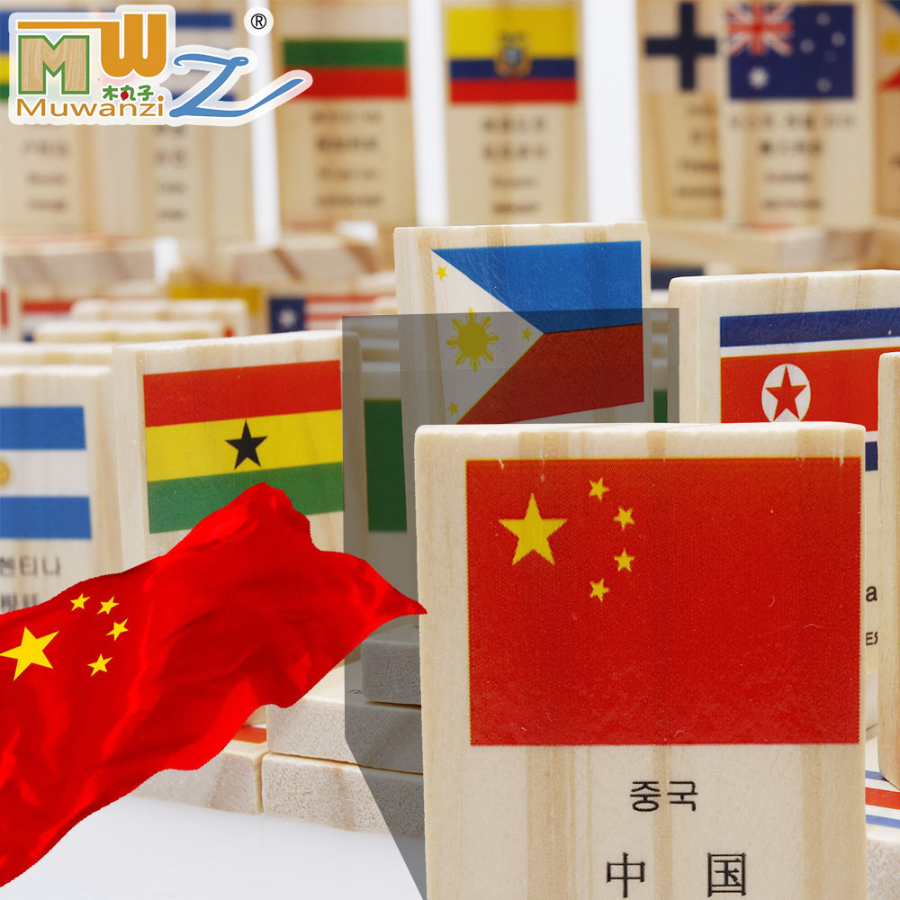 wooden  Dominoes national flag child educational toys  100 blocks 2 - 5 years   gift