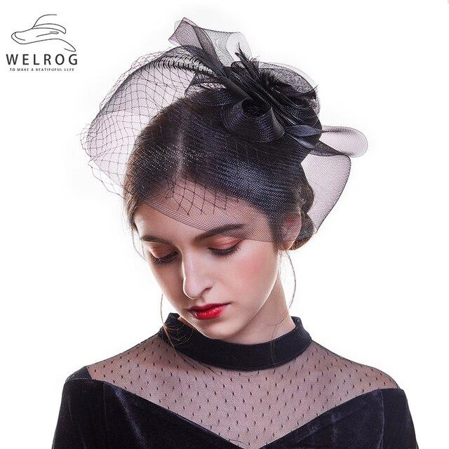 Sombreros elegantes de la flor de la pluma del WELROG sombreros de novia  velos de la boda de las mujeres ... 34dab1a4b43