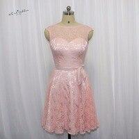 Pink Blush Bridesmaid Dress Lace Cap Sleeve Knee Length Wedding Guest Dresses Short Dress for Wedding Party Vestido Madrinha