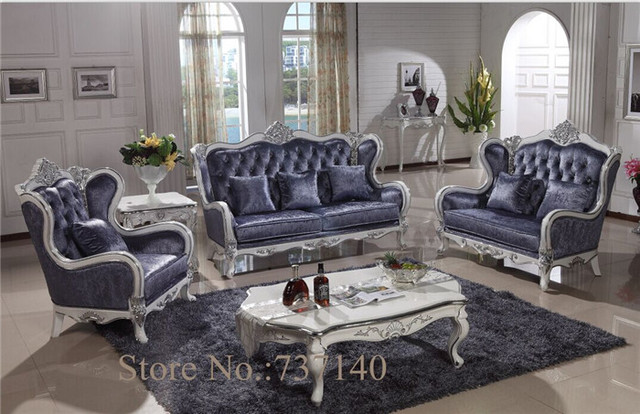 blue leather living room sets small two sofas antique sofa baroque style furniture ...