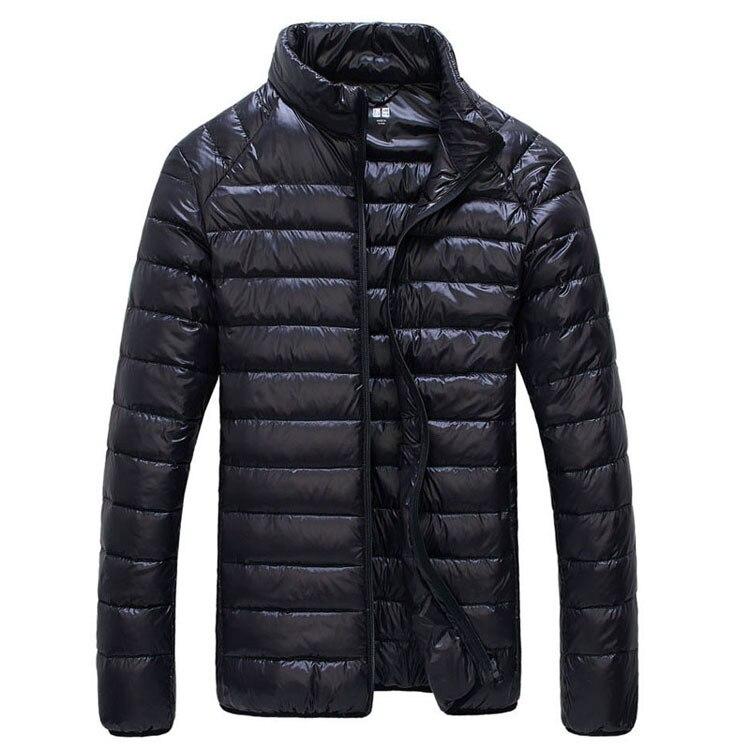 Мужская зимняя куртка ультра светильник 90% белый утиный пух куртки повседневное портативное зимнее пальто для мужчин размера плюс 4XL 5XL 6XL - Цвет: Black