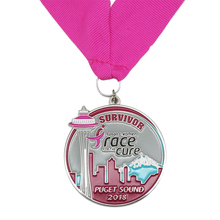 New Design Metal Craft Custom Race for The Cure Survivor Medal  k 200165