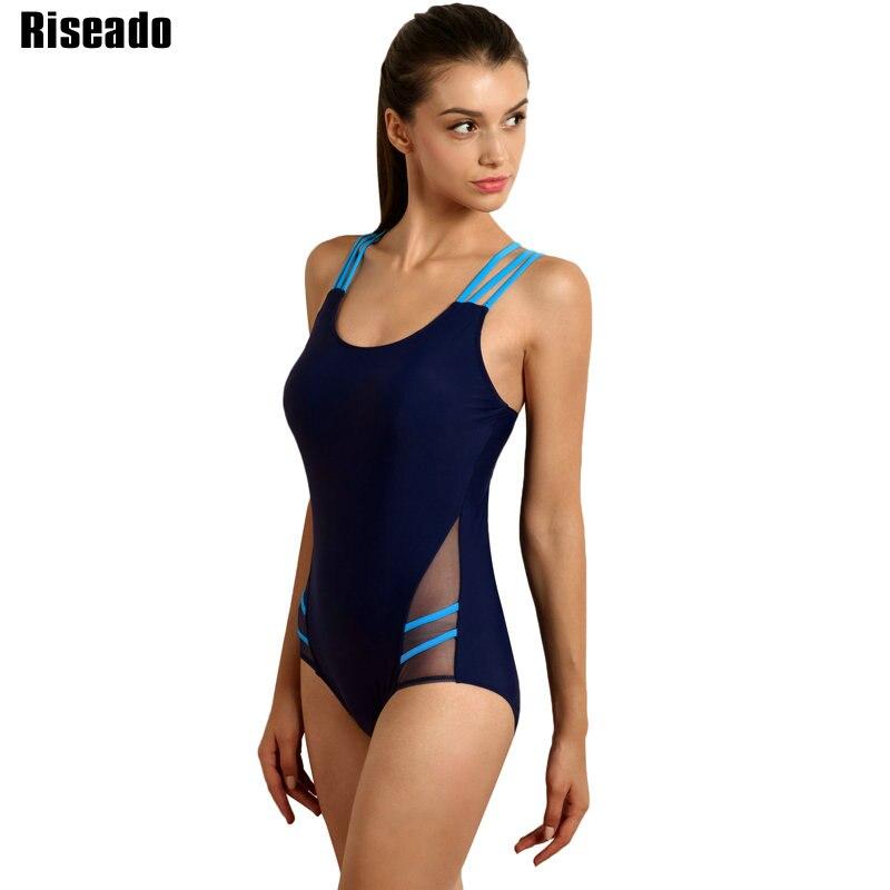 Riseado New Training One Piece Swimsuits 2019 Cross Bandage Sexy Mesh Swimwear Women Swimming Suits Bathing Suits