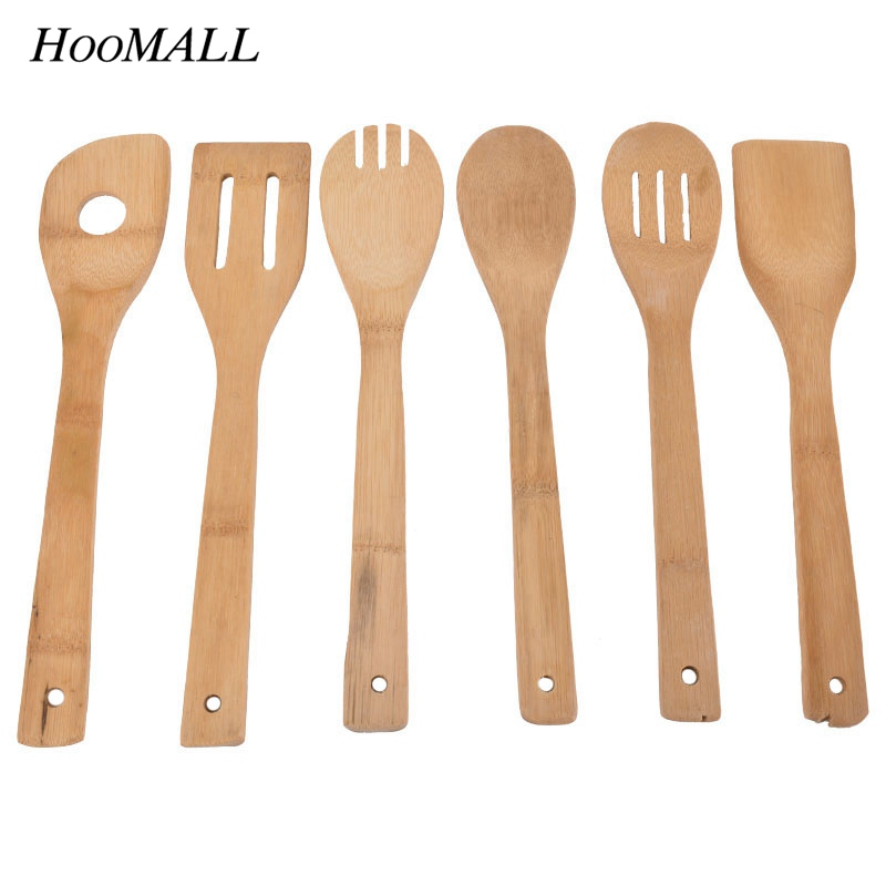 Hoomall 6pcs lot eco friendly portable bamboo wooden for Kitchen tool set of 6pcs sj