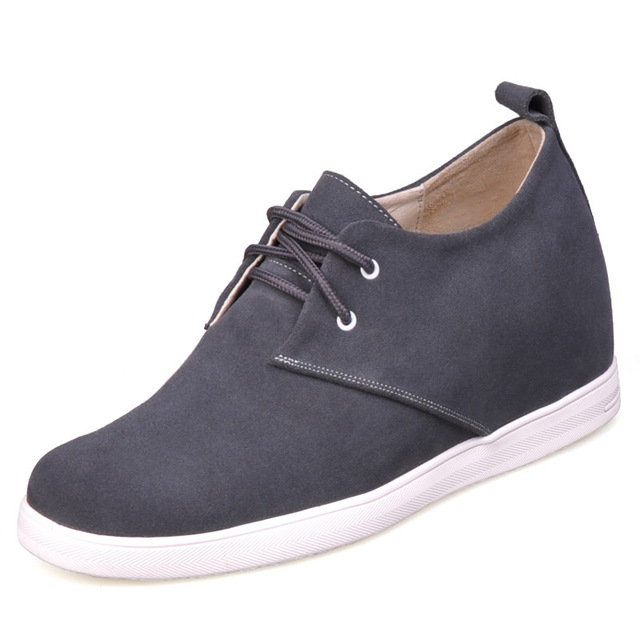 9091A_5 - Gray Front Tie Rubber Leather  Men's Elevator  Shoes gain 2.75 inches taller about 7cm