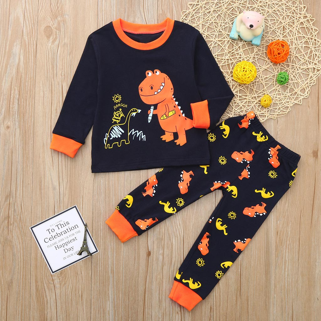 2PCS Children Kids Boys Girls Dinosaur Print Top Clothes+Long Pants Set Outfit baby boys clothes set 0321