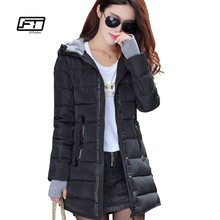 Fitaylor 2017 New women winter hooded Parkas warm coat slim plus size color cotton padded basic jacket female long Collection