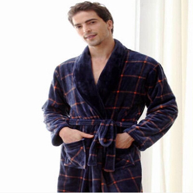 Autumn Winter Thick Flannel Robe  Male Long Coral Fleece Bathrobe Man Plus Size Brand Sleepwear