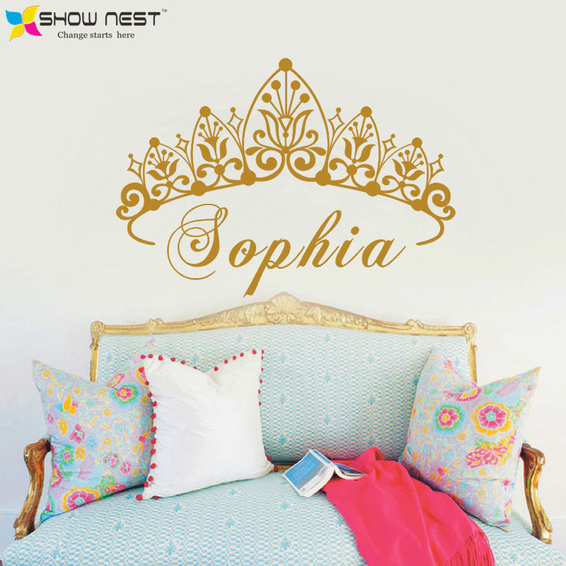 Baby Girl Crown Wall Sticker Custom Princess Name Decals