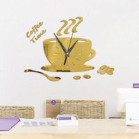 Wall Clock Living Room 3D DIY Coffee Cup Acrylic Wall Clock Creative Wall Sticker Kitchen Living Room Decoration Horloge Murale9