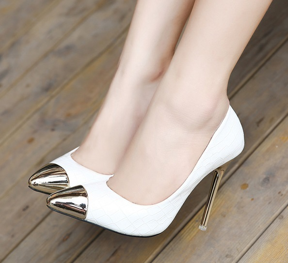 f5ef2b7c12d2 2015 Sexy Womens White High Heel Sandals Cinderella Wedding Bridal Shoes  For Woman Gold Heel Black Pointed Toes High Heels Pumps