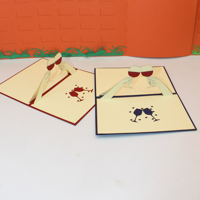 10 pieceslotleiso brand creative laser cut 3d cheers greeting card 10 pieceslotleiso brand creative laser cut 3d cheers greeting card party m4hsunfo