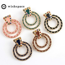 Europe and the United States Bohemia South Korea velvet weaving set auger popular Russian style earrings цена
